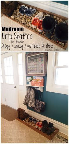 Once the babies know not to eat the rocks! :). Build a 'Drip Tray' for muddy (or snowy) boots and shoes! {Sawdust and Embryos}