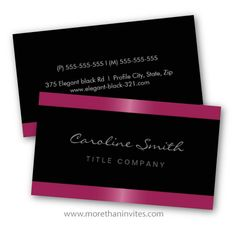 Elegant, dark business or profile card with fuchsia pink borders. For women.