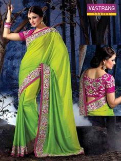 Vastrang Green saree with embroidery & patch work with art silk blouse