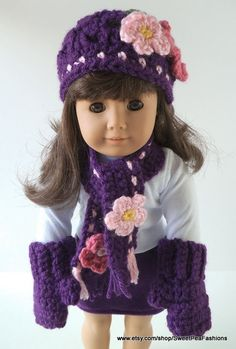 American Girl Purple Hat Scarf and Mittens Set by SweetPeaFashions, $8.00