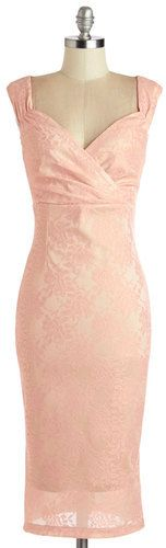Retro pale pink lace dress