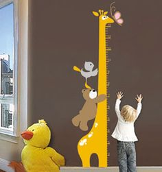 Free Shipping New Giraffe Kids Growth Chart Height Measure For Home/Kids Rooms DIY Decoration Wall Stickers 5pcs/lot-in Wall Stickers from H...