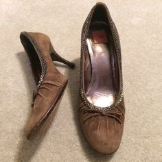 Coach Brown Suede Heels Very Comfy Brown Suede Coach Heels with Beaded Detail.  These have been very loved. Price reflects blemishesNO TRADES NO HOLDS LOWBALL OFFERS WILL BE IGNORED Coach Shoes Heels