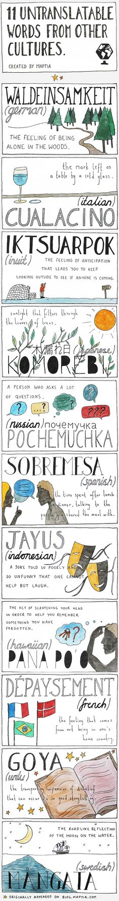 Maptia è una piattaforma di storytelling. L'infografica 11 Untranslatable Words From Other Cultures eslpora il significato delle parole in diverse culture
