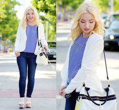 Pure Sugar White Leather Detailed Blazer, Striped Tee,  Boyfriend Jeans, Platform Sandals.