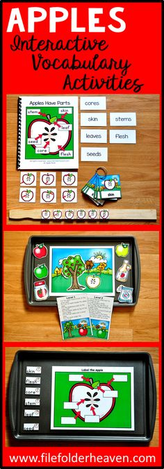 "This Apple Adapted Book ""Apples Have Parts"" teaches the parts of an apple on their function, through simple rhyme and interactive matching pieces.    This download includes 1 adapted (interactive) book, 1 sequencing stick activity, 1 apple labeling activity, 1 apple themed positional concepts activity, and 1 set of apple parts vocabulary labeling cards."