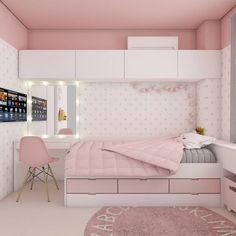 Decoração: quartos teens lindos para se inspirar... Room Design Bedroom, Girl Bedroom Designs, Bedroom Layouts, Small Room Bedroom, Room Ideas Bedroom, Home Room Design, Home Decor Bedroom, Bedroom Furniture, Furniture Design