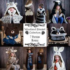 Crochet Hooded Animal Blankets woodland bundle-not free Crochet For Kids, Crochet Baby, Knit Crochet, Simple Crochet, Crochet Rope, Crochet Blanket Patterns, Knitting Patterns, Crochet Blankets, Manta Crochet