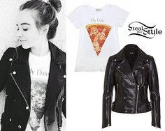 Sabrina Carpenter posted an instagram photo wearing the Bardot Leather Biker Jacket ($318.58) with a Wildfox Couture My Date Tourist Crew T-Shirt ($64.00, sold out). Mindy White has the same tee.