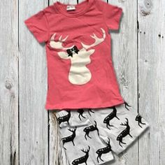 Hot Pink Deer Girls Boutique Outfit. Super trendy and perfect for summer! >Cotton/Spandex >True To Size Order the size she normally wears everyday. (If unsure, we recommend ordering one size up) With