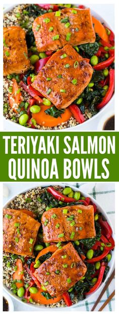 Teriyaki Salmon Bowl with Quinoa, Kale, and Fresh Veggies. A quick and easy cooked Asian Buddha bowl that's perfect for healthy lunches, meal prep, and fast dinners! Add avocado or swap any veggies you have on hand. #mealprep #glutenfree #healthy via @wellplated