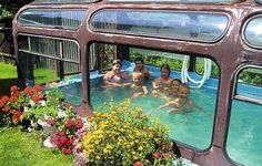 Upcycled Pool bus. Yep that\'s right, used to be a bus now turned into an indoor swimming pool. How cool is that! Don\'t you just love the garden too!