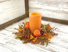 Lemon Centerpieces, Pumpkin Centerpieces, Pumpkin Candles, Fall Candles, Small Wreath, Crooked Tree, Yellow Candles, Candle Rings, Pumpkin Wreath
