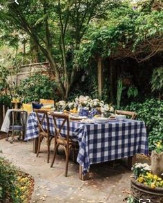 Blue Gingham Tablecloth for a Summer al Fresco Lunch Outdoor Rooms, Outdoor Dining, Outdoor Gardens, Outdoor Furniture Sets, Outdoor Decor, Outdoor Cafe, Outdoor Lighting, Gingham Tablecloth, Outside Living