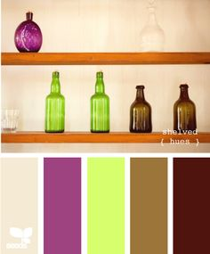 cream, fushia, lime, tan, brown. great color scheme.