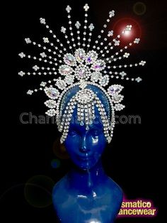 The silver shade of the head gear with all the silver stone settings make it look so shiny and glamorous and is just ideal for an evening or night occasion of fun and frolic. The length of the dress from shoulder to hemline. Carnival Outfits, Carnival Costumes, Headdress, Headpiece, Head Crown, Fire Crown, Samba Costume, Mannequin Art, Belly Dance Costumes