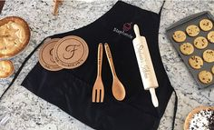 *Any Baking Bundle order placed after is not guaranteed to arrive before Christmas.* Our Personalized Baking Bundle includes 6 of our best-selling prod Personalized Products, Personalized Gifts, Embroidered Apron, Hot Pads, Rolling Pin, New Product, Best Gifts, Baking, Fork