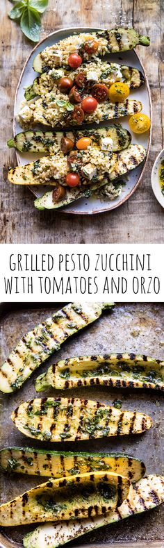 Grilled Pesto Zucchini Stuffed with Tomatoes and Orzo | halfbakedharvest.com #grilling #summer #easyrecipes