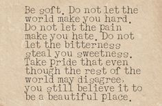 Be soft. Do not let the world make you hard. Do not let the pain make you hate. Do not let the bitterness steal your sweetness. Take pride that even though the rest of the world may disagree, you still believe it to be a beautiful place.   --Kurt Vonnegut
