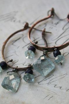 lifelessordinary0:  Deryn Mentock BoHo Hoops…sterling, copper, aquamarine, sapphire