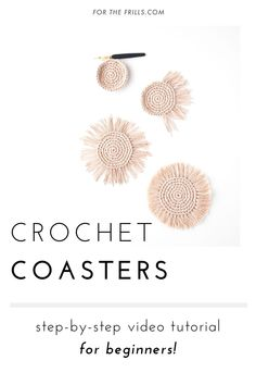 Boho Crochet Coasters - free pattern + video tutorial - for the frills Diy Knitting Projects, Diy Craft Projects, Craft Tutorials, Video Tutorials, Diy Crochet Patterns, Crochet Coaster Pattern, Knit Or Crochet, Learn To Crochet, Crochet Things