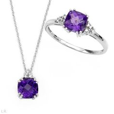 Dazzling Jewelry set - Brand New Necklace With 2.00ctw Precious Stones - Genuine Amethyst and Diamond Made in 14K White Gold Length 18in and Brand New Ring With 2.00ctw Precious Stones - Genuine Amethyst and Diamonds Made in 14K White Gold