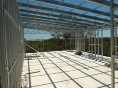 Floor sheet down and roof frame in place- Steel Frame House using Spantec Steel Floor Frame Kit.