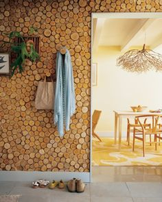 Birch Wall Panel - Interesting idea; maybe on a smaller level.  Love the chandelier in the background!  Don't know about hanging it in my house tho :\