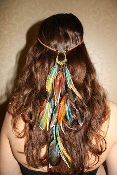 April Fire feather leather headband handmade hippie hair feathers. kr1,200.00, via Etsy.