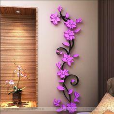 PVC moda vaso de Flor Home Espelho Art DIY Adesivo de Parede Sala de Decalque Decoração papel de parede adesivo de parede flor roxa rosa