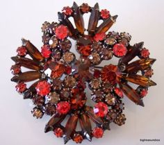Vintage Brooch Pin Brown Orange Gray Rhinestone