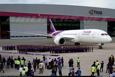 The premier Thai Airways International Boeing 787-8 Dreamliner shortly after its delivery flight from Seattle to Bangkok