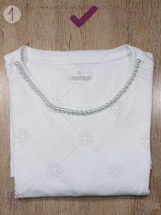 DIY: Camiseta con perlas | Bordado fácil – Nocturno Design Blog Design Blog, Sweatshirts, Sweaters, Outfit, Fashion, Sewing Tutorials, Block Prints, Stones, Vestidos