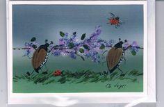 Grüße - Grußkarte - Maikäfer mit Flieder, handgemalt - ein Designerstück von Vogelmalerin bei DaWanda