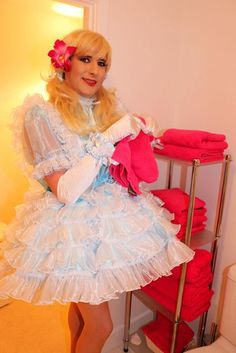 sissy maid debby in blue satin