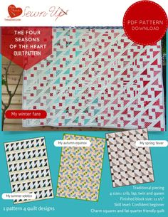 Quilt pattern: The four seasons of the heart - beginner quilt pattern - make 4 different quilts with just one pattern!