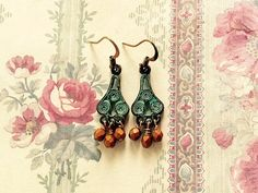 Turquoise Patina Chandelier Earrings Dangling by SUSANsBAUBLES