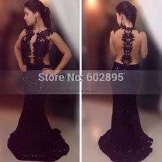 Find More Prom Dresses Information about Stunning appliques sexy mermaid black prom dresses sheer neck lace evening and prom night gown 2015 beads maxi dress for prom,High Quality dress shirts for men designer,China dress up time prom dresses Suppliers, Cheap dress smock from youthbridal on Aliexpress.com