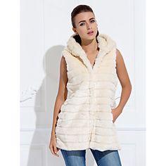 gilet di pelliccia con cappuccio in pelliccia del faux casuale / partito gilet (più colori)