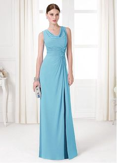 Elegant Tulle & Chiffon Cowl Neckline Sheath Formal Dresses With Beads