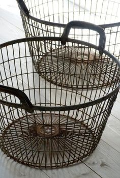 Vintage Industrial Wire Storage Baskets. Flip these and make hanging lights! Awesome!!
