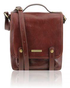 DANIEL TL141304 Leather shoulder bag with front straps - Borsello in pelle con fibbie
