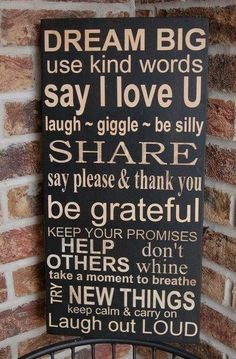 Pretty Words / Family Rules Subway Art Dream Big Typography Word by kspeddler The Words, Kind Words, Great Quotes, Quotes To Live By, Inspirational Quotes, Motivational Monday, Insightful Quotes, Awesome Quotes, Family Rules