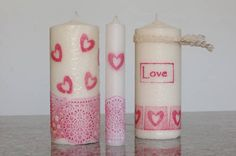 Valentine Stamped Candles, Valentine's & Romantic Crafts