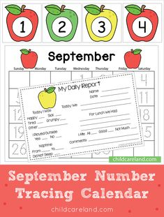 September Number Tracing Calendar Early Learning Activities, Classroom Activities, Calendar Numbers, Number Tracing, Date Today, Days And Months, Sunday Monday Tuesday, September, Names