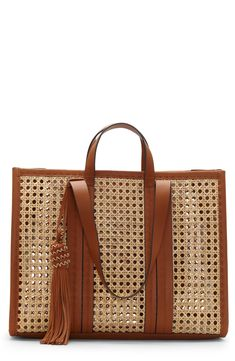 Find and compare Vince Camuto Indra Woven Rattan & Leather Tote across the world's largest fashion stores! Canvas Leather, Leather Bag, Leather Handle, Tote Handbags, Purses And Handbags, Fashion Handbags, Tote Bags, White Tote Bag, Designer Shoulder Bags