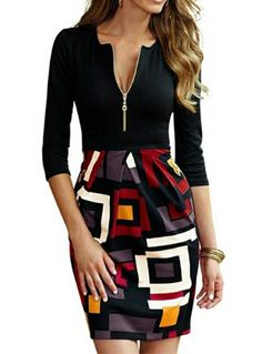 Fvogue Newest Slim Stitching Patchwork Long Sleeve Bodycon Dresses