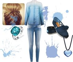 """splash of blue"" by the-original-katniss-everdeen ❤ liked on Polyvore"