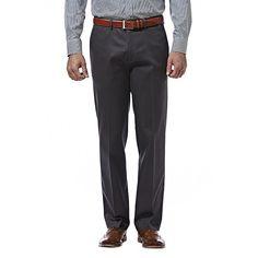 Men's Haggar Premium No Iron Khaki Stretch Classic-Fit Flat-Front Pants, Size: 38X30, Dark Grey