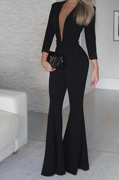 "Chic black jumpsuit design Popular Ladies""}, ""http_status"": window. Look Fashion, Hijab Fashion, Fashion Dresses, Womens Fashion, Jumpsuit With Sleeves, Black Jumpsuit, Classy Outfits, Chic Outfits, Work Outfits"